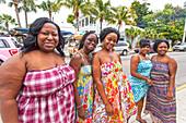 Local group of women in colourful dress at Bahama Village, Key West, Florida Keys, Florida, USA