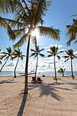 Beach with wooden jetty at the Moorings Village Resort, Islamorada, Florida Keys, Florida, USA