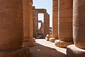 Hypostyle hall, its roof supported by 48 elegant papyrus columns at the Temple of Ramses II at the Ramesseum, Western Thebes, Qina, Egypt