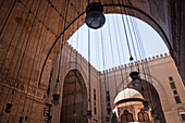 Lamps in an iwan and ablution fountain of Sultan Hassan Mosque and Madrassa, Cairo, Al Qahirah, Egypt
