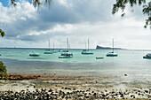 Pleasure boats by Cap Malheureux, Mauritius