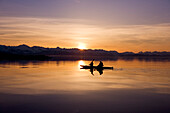 Alaska, Juneau, Favorite Passage. Kayaking through beautiful mountain ranges as the sunsets.