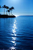 Hawaii, Oahu, Kahala Beach, Early morning light on the water