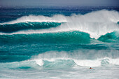 Hawaii, Maui, Surfer at Pavillions, Hookipa Beach Park.