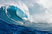 Hawaii, Maui, Peahi or Jaws, Surfer on a huge wave.
