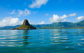 Hawaii, Oahu, View of Chinaman's Hat, Mokolii and East Oahu view from ocean.