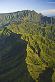 Hawaii, Kauai, aerial of inland mountaintops.