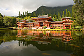 Hawaii, Oahu, Ahuimanu Valley, Valley of the Temples, Byodo-In Temple, Koi swimming in pond.