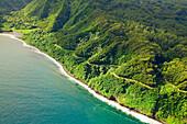 Hawaii, Maui, aerial view of the road to Hana.