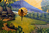 Thailand, Baw Sang, Detailed scene painted on umbrella