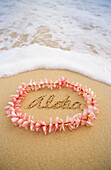 Close-up of pink plumeria lei with aloha written in sand, foaming shore water
