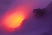 Hawaii, Big Island, Lava meets the ocean, Steam, rock