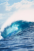 Hawaii, Oahu, North Shore, Pipeline, view looking through curl of wave.