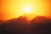 Hawaii, Big Waves at Sundown.