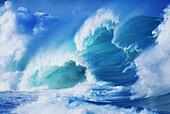 ''Hawaii, Oahu, North Shore; several green waves crashing in layers white wash''