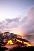 Hawaii, Big Island, Hawaii Volcanoes National Park, lava flow at dawn, steaming B1580