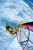 Hawaii, Maui, Ho'okipa, Jason Polakow in whitewash, mast mount wide angled view