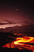 Hawaii, Big Island, Hawaii Volcanoes National Park, moon over lava flow at dawn