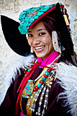 'A Beautiful Ladakhi Women In Traditional Costume Jewelry; Ladakh Jammu And Kashmir India'