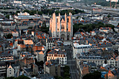 Aerial view of Nantes city, France