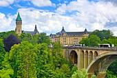 Luxemburg , Luxemburg City (W.H.) ,Adolphe Bridge and Bank Museum  tower