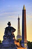 France , Paris City, Luxor Obelisc , Eiffel Tower