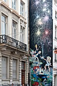 Belgium - Brussels - Street of the Oak - Mural of Olivier Rameau and Colombe Tiredaile, heroes of Dany's comic strips (draftsman) and Greg (scriptwriter)