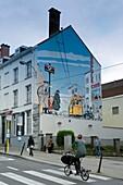 Belgium - Brussels - Street des Axéliens - Mural of Young Albert, the hero of Yves Chaland's comic strip