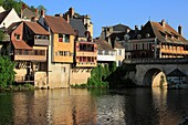 France, Indre (36), Argenton-sur-Creuse, known as the Venice of the Berry, the city is situated on the banks of the Creuse, aves its picturesque houses