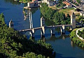 France, Lot (46) Cahors town located in a meander of the Lot, crossing the Lot, The bridge is a bridge Valentré fortified fourteenth century, classified historical monuments and UNESCO World Heritage, (aerial photo)