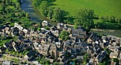 France, Aveyron (12), Saint-Eulalie d'Olt, town labeled most beautiful villages in France, located on the banks of the Lot (aerial photo)