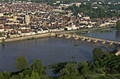 France, Nièvre (58), La Charité-sur-Loire, a town located on the banks of the Loire, the church and the old bridge, (aerial photo)
