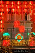 Singapore,Chinatown,Shop Front Decorated with Lanterns for Chinese New Year