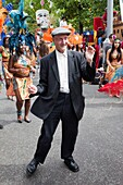 'England, London, ''Carnaval Del Pueblo'' Festival (Europes Largest Latin Street Festival), Eccentric Englishman Dancing in the Street'