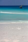 Africa, Zanzibar, sailboat in Mnemba island