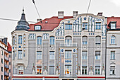 Building in Art Nouveau style, Leopoldstrasse, Muenchner Freiheit, Munich, Upper Bavaria, Bavaria, Germany