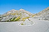 Hairpin turn on the mountain pass road, Stelvio Pass, Stilfser Joch, South Tyrol, Italy