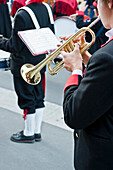 Musicians in traditional clothes, Brass band, Livigno, Lombardy, Italy