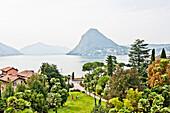View from Hotel across lake Lugano, Lugano, Ticino, Switzerland