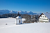 Chapel and farm with view towards the Allgaeu Alps, Allgaeu, Bavaria, Germany