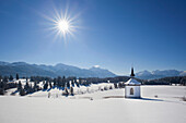 Chapel with view towards the Allgaeu Alps, Allgaeu, Bavaria, Germany