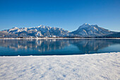 View across Lake Forggensee to the Allgaeu Alps with Tegelberg and Saeuling, Allgaeu, Bavaria, Germany