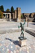 Statue of the Faun, house of the faun, Casa del Fauno, historic town of Pompeii in the Gulf of Naples, Italy, Europe