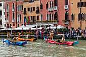 Historic rowing regatta on the Grand Canal, Venice, Venetia, Italy, Europe