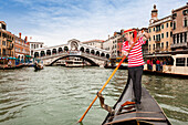 Gondola in the Grand Canal of Venice, Venetia, Italy, Europe