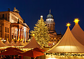 Christmas market with the Schauspielhaus and French Cathedral at night, Magic of Christmas market on Gendarmenmarkt square, Berlin center, Berlin, Germany, Europe