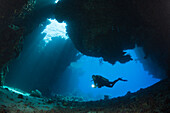Scuba Diver inside Cave, Cave Reef, Red Sea, Egypt