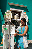 Young woman shopping, Burano, Venice, Venezia, Italy, Europe