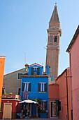 Leaning tower, Burano, Venice, Venezia, Italy, Europe