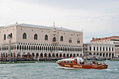 Taxi boat with Palazzo Ducale in the background, Piazza San Marco, Marcus Place, Venice, Venezia, Italy, Europe